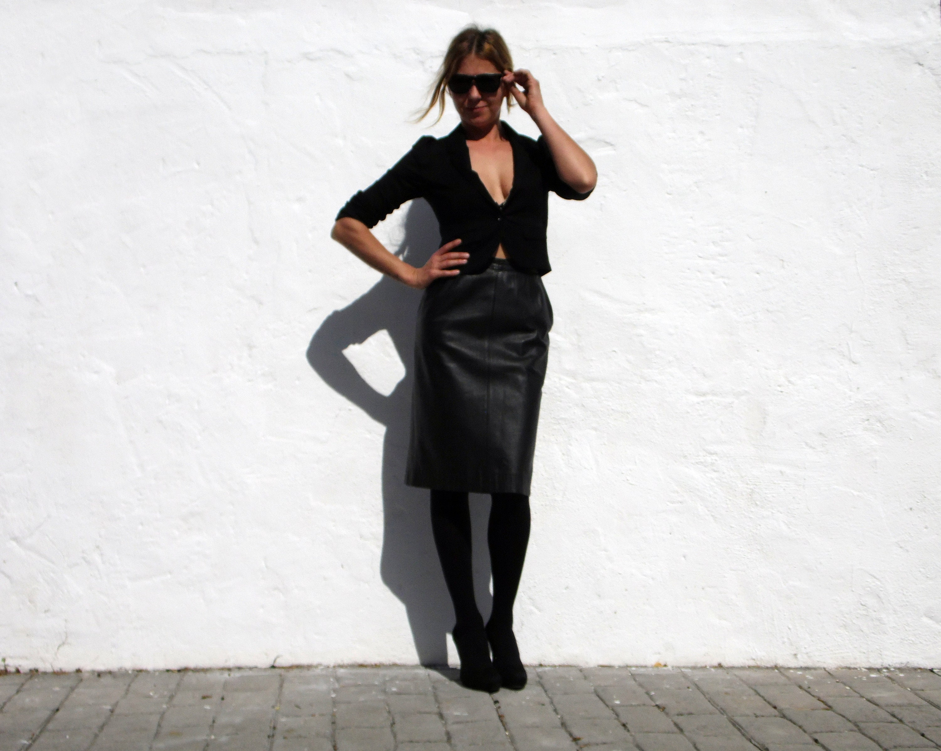 305afd759 Black Leather Knee Length Skirts – DACC