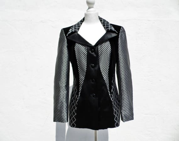 RARE Escada jacket metallic silver jacket statemen