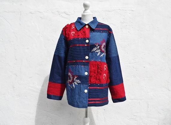 Denim jacket boho jacket patch jacket embroidered