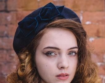 Navy Blue Wool Felt Beret Hat with Navy Blue Velvet Ribbon Bow, Navy Blue French Beret Hat, Navy Blue Women's Winter Hat