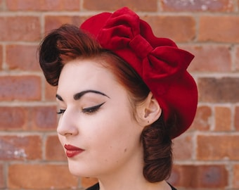 e3a6e549c2c Red Wool Felt Beret Hat with Red Velvet Bow