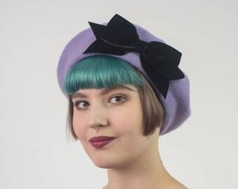 046176ee3bc Lilac Wool Felt Beret Hat with Black Velvet Ribbon Bow
