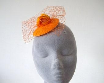 Orange Fascinator, Orange Flower Fascinator, Orange Fascinator with Veiling, Orange Cocktail Hat, Orange Hatinator, Orange Headpiece