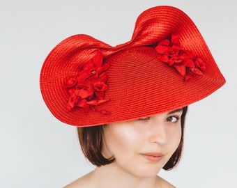 Red Saucer Hat, Red Straw Hat, Red Hat with Velvet Orchid Flowers, Red Race Day Hat, Red Wedding Hat, Red Cartwheel Hat, Red Hatinator