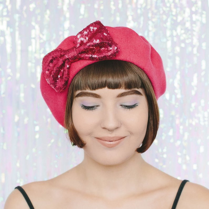 bbada80f309e3 Pink Wool Felt Beret Hat with Pink Sequin Bow Pink French
