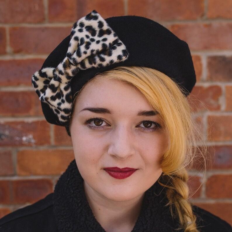 4af5fb066b71 Black Beret Hat with Leopard Fake Fur Bow Black Wool Felt | Etsy