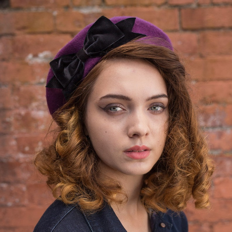 2ae7b8d39549 Purple Beret Hat with Black Velvet Ribbon Bow Purple Wool   Etsy