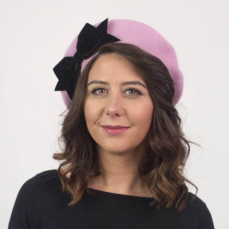 fff264427808 Dusky Pink Wool Felt Beret Hat with Black Velvet Ribbon Bow   Etsy