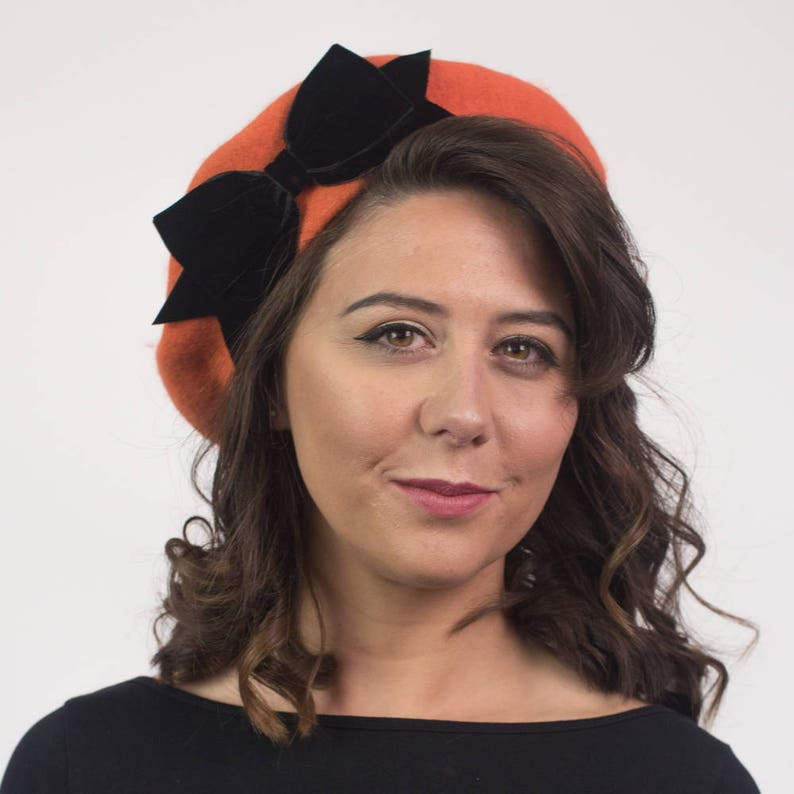 781f1beb35a16 Orange Wool Felt Beret Hat with Black Velvet Ribbon Bow