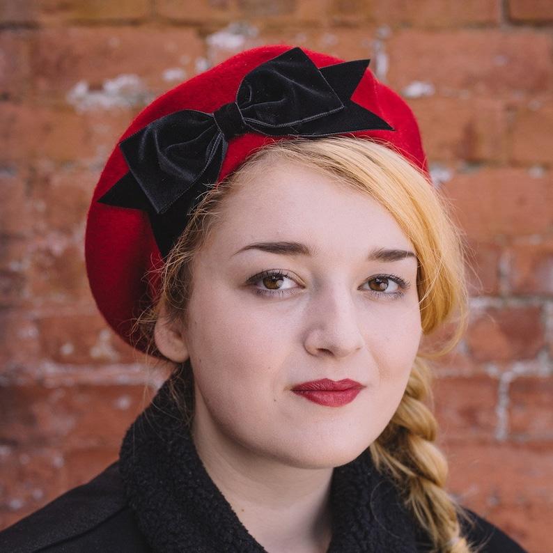 720fce857f98 Red Wool Felt Beret Hat with Black Velvet Ribbon Bow Red   Etsy