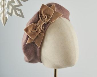 Beige Wool Felt Beret Hat with Beige Velvet Ribbon Bow, Beige French Beret Hat, Beige Women's Winter Hat, Beige Beret with a Bow