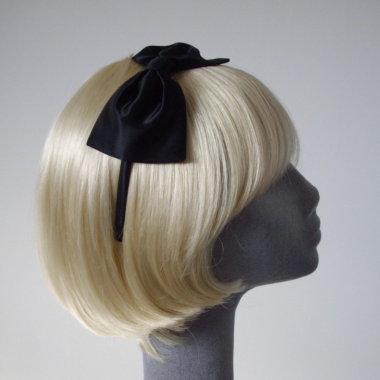 Black Satin Bow Headband Black Satin Bow Aliceband Black