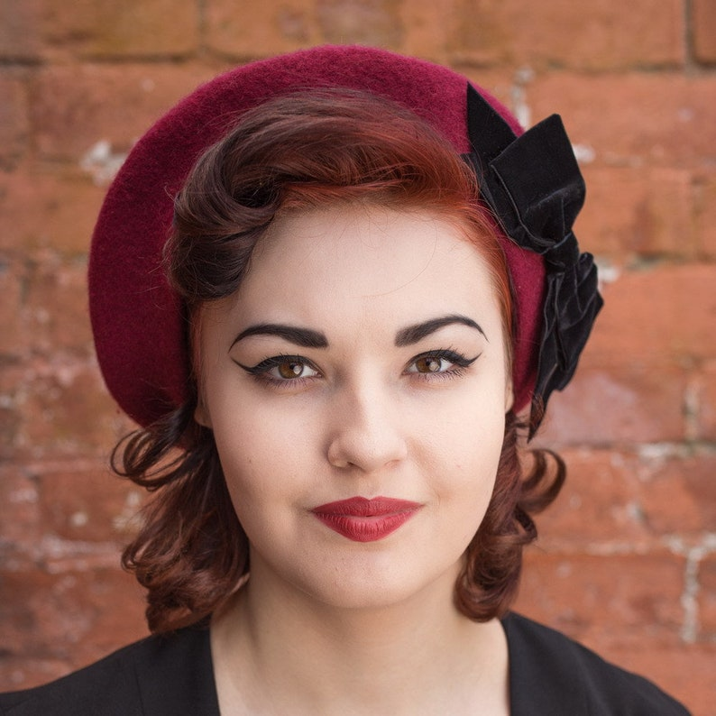 085c4bab35a5 Wine Red Wool Felt Beret Hat with Black Velvet Ribbon Bow   Etsy