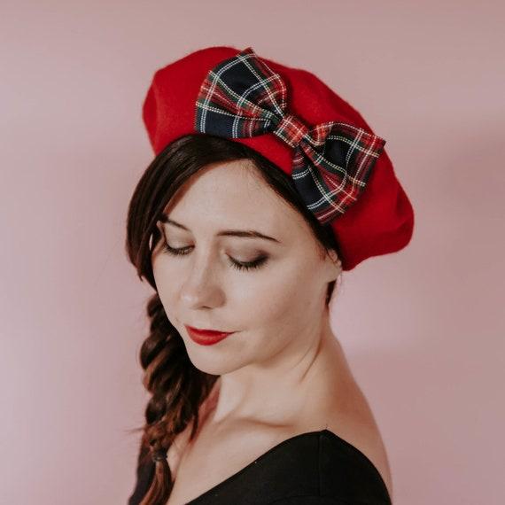 "Femmes Filles Handmade 4/"" Beige Rouge /& Noir Tartan Carreaux Tissu Nœud Cheveux Clips"
