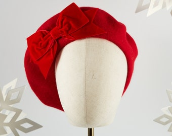 Scarlet Red Wool Felt Beret Hat with Red Velvet Ribbon Bow, Red French Beret Hat, Red Women's Winter Hat, Red Beret with a Bow