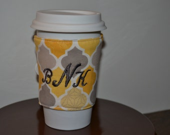 Personalized Coffee Cozy (Yellow and Gray)