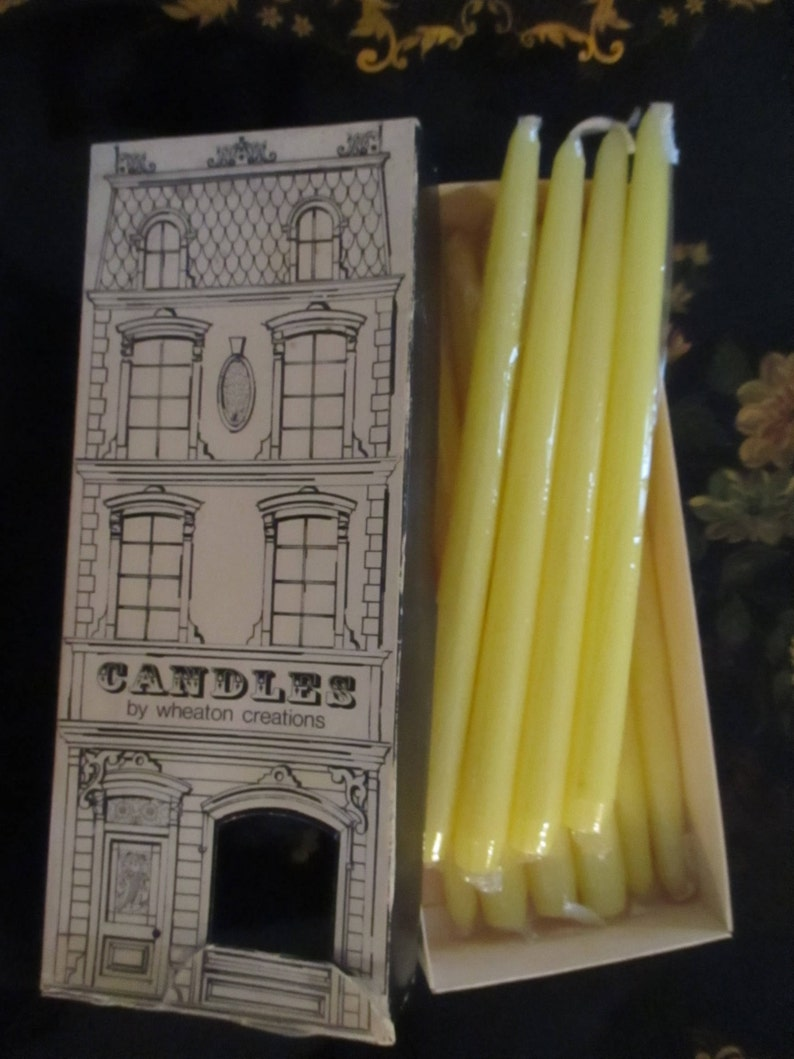 Boxed Candles 10 Yellow Candle Wax Tapers Candlesticks Candlelight Wheaton Candle Creations Nuline  Brownstone YourFineHouse
