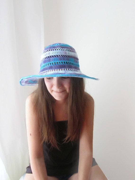 Summer Floppy Hat Wide Brimmed Cotton Crochet Accessory Beach  f4e92501e69