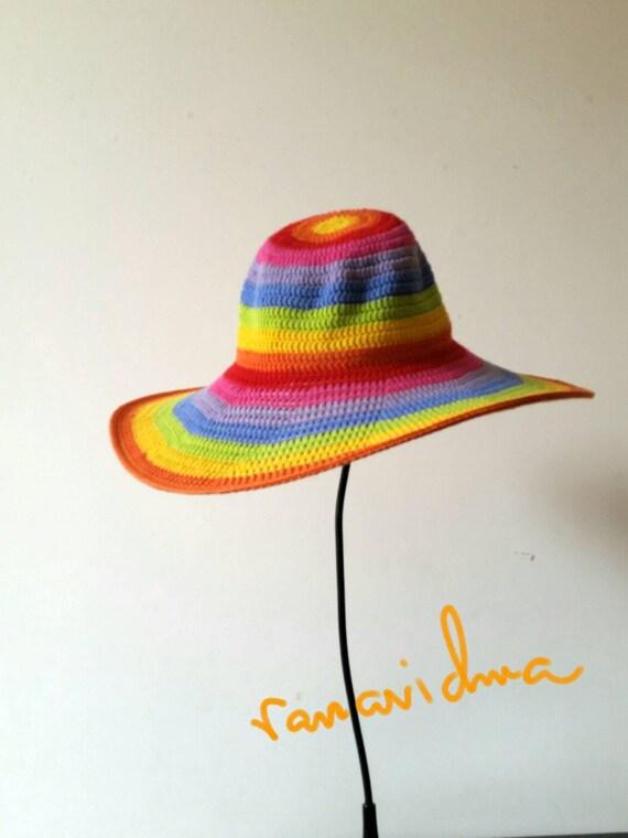 13dc0fcdaa Rainbow Summer Floppy Hat. Women Cloche Wide Brim. Beach