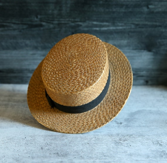 Antique Straw Victorian Boater Boater's Hat