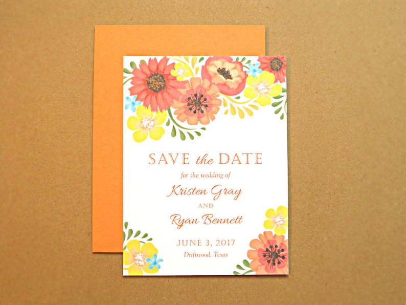 Save the Date Wedding Card Orange and Yellow Vintage Flowers