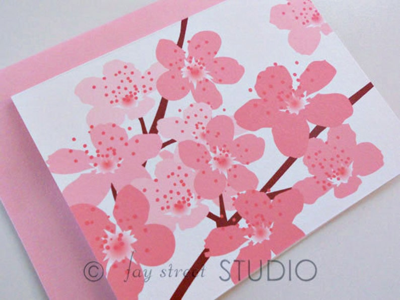 10-Count Cherry Blossoms Blank Notecards  Blank Cards  Floral Stationery