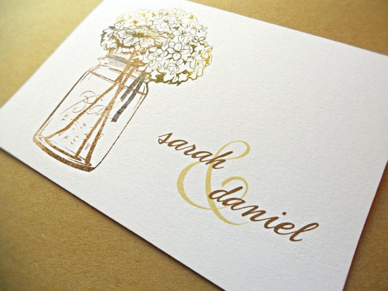 Mason Jar Personalized Wedding Stationery / Wedding Thank You image 0