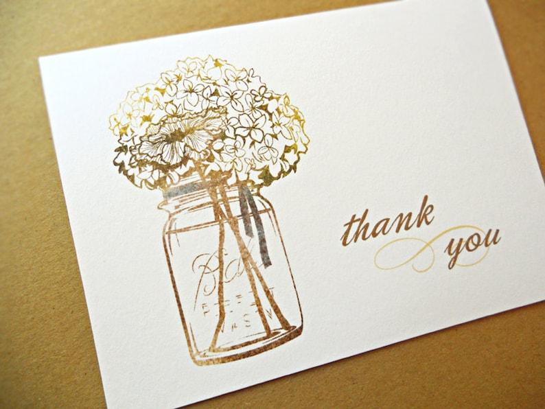 Mason Jar Thank You Cards / Wedding Thank You Cards 10-Count image 0