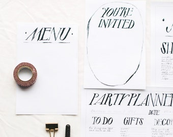 hand-lettered printable party planner with menu and invitation templates