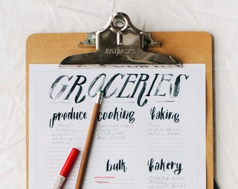 simple printable grocery list - labeled sectioned shopping list - hand lettered