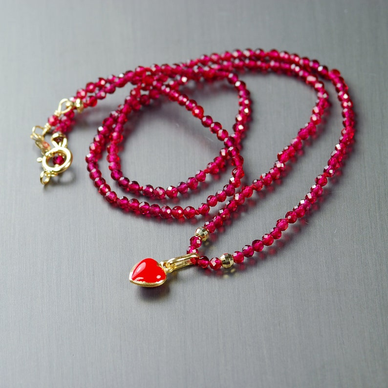 1991175a2 14k Gold Heart Charm Necklace. Garnet Choker with 14k Gold | Etsy