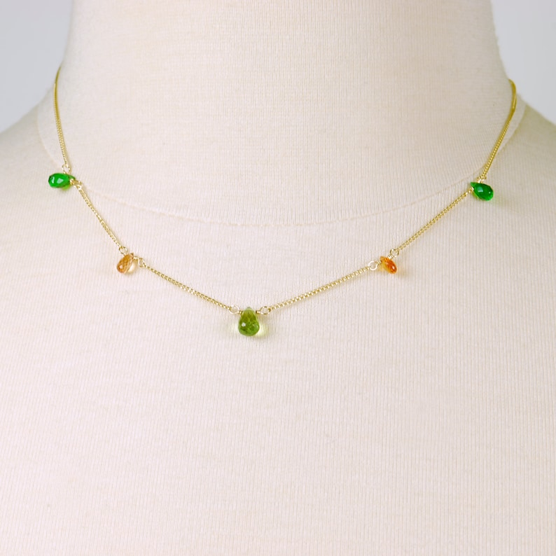 Peach Sapphire Dainty Gold Filled Green Gem Necklace N16019 Peridot August Birthstone Choker Chrome Dipside Choker By Agusha