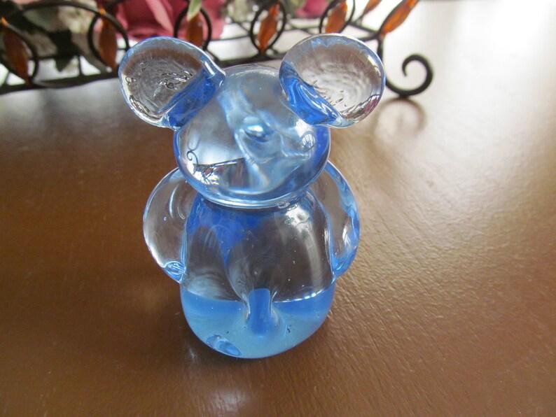 Blue Blown Glass Koala Bear or Mouse Figurine US Commemorative Fine Art Gallery