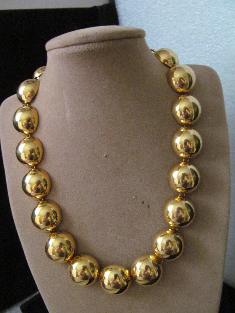 Monet Gold Tone Metal Choker Necklace