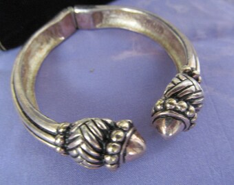 Vintage Premier USA Silver Tone Bracelet, Geometric Design