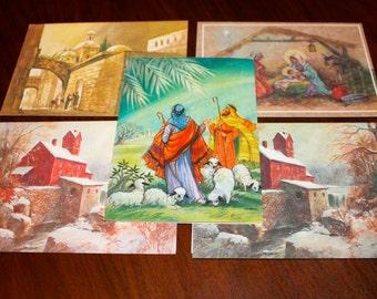 Lot of 5 Vintage Christmas Cards Envelopes Religious Theme Pastoral 1970s Paper Ephemera NOS