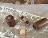 Antique Treen Wood Inlaid Star Walnut Etui Sewing Travel Threads Spool Needles Celluloid Thimble Round Container