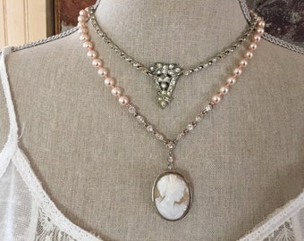 Antique/Vintage Cameo Pearl Rhinestone   Mother Mary One of a Kind Assemblage Two Strand Necklace Bridal