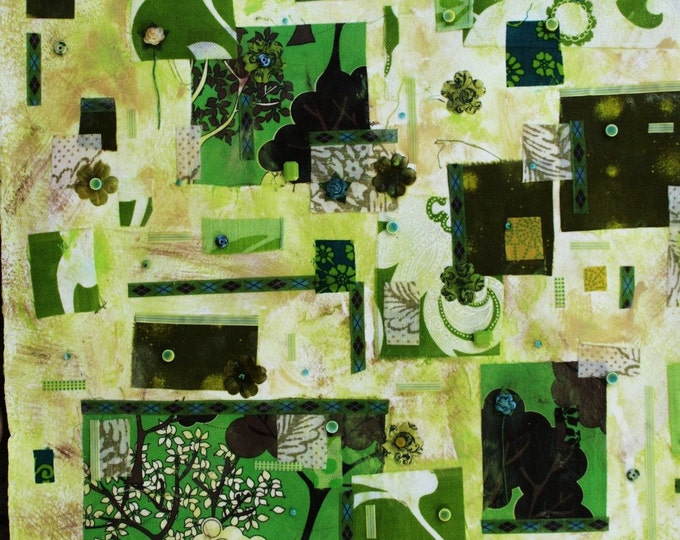 Green Fabric Mixed Media Collage/Acrylics- Framed