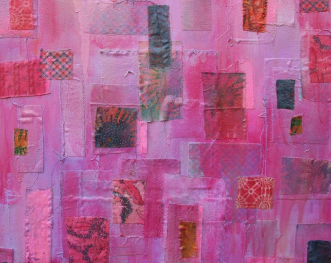 Oil Painting Magenta Hues/Collage Quilt Style