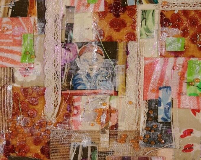 Mixed Media Fabric/Acrylic Painting- Framed