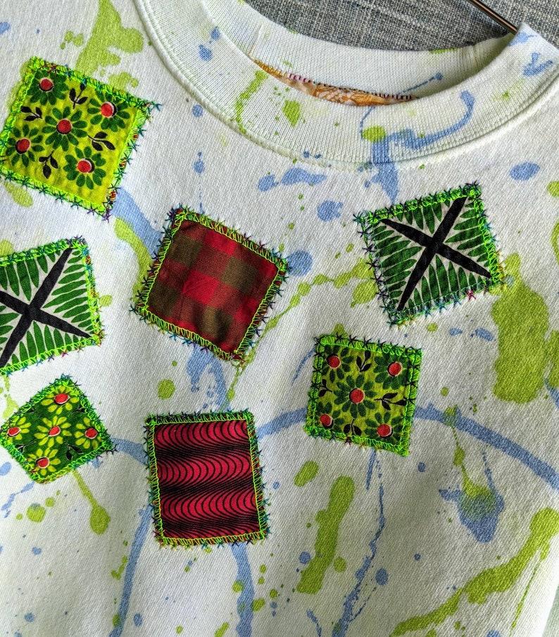 Kiwi greenblue splatter sweatshirt with embroidered fabric patchwork pattern KIWI SPLATTER