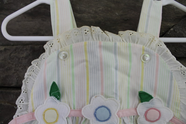 Baby Overalls Pastel with ties on sides ribbons 12 months