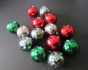 Vintage Lot of 14 Mid Century Mirror Ball Plastic Christmas Ornaments in Assorted Colors