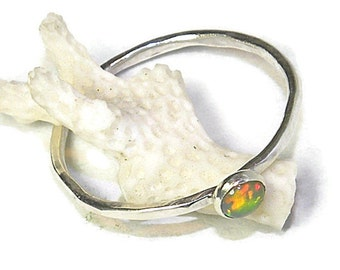 Dainty Ethiopian Opal Stacking Sterling Silver Ring Kaleidoscope Colors R161