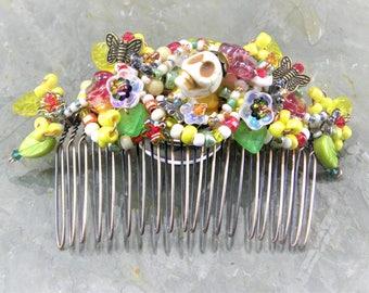 Hair Comb in Fiesta Colors of Dia de los Muertos, Beaded, Sculpted Hair Ornament