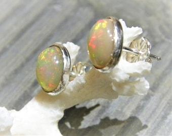 Ethiopian Opal Post Earrings, AAA+ 6mm x 8mm Natural Opal Stud Earrings in Sterling Silver E134