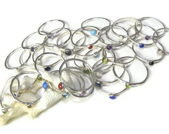 Select 5, Sterling Gemstone Stacking Rings in Bright Tumbled Silver R138