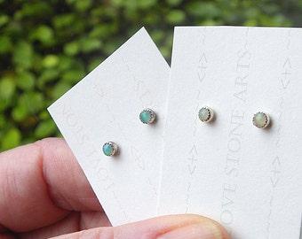 Opal Stud Earrings in Sterling Silver, Natural AAA Ethiopian Gemstone Opals, 3mm E149