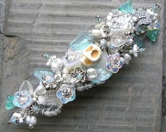 Hair Ornament, Dia de los Muertos Themed Wedding Uniquely Beautiful French Clip Bridal Accessory WJ127